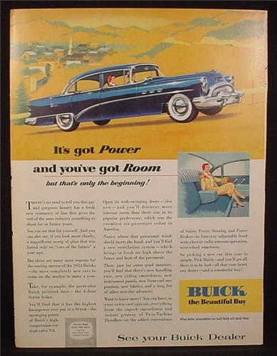 Magazine Ad for Buick 4 Door Super Sedan Car, Blue, Side View, 1954