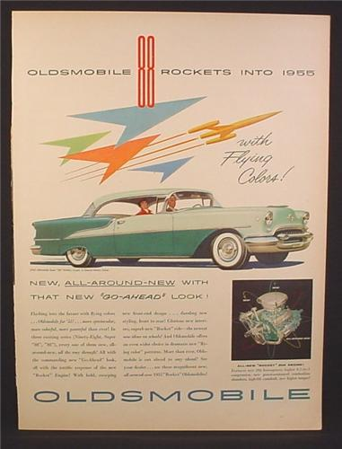Magazine Ad for 1955 Oldsmobile Super 88 Holiday Coupe Car, 2 Tone Green, 1954