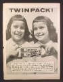 Magazine Ad for Ipana Toothpaste, Twin Pack, Twin Girls Both Missing A Tooth, 1956
