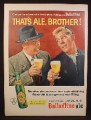 Magazine Ad for Ballantine Ale, Beer, That's Ale Brother, Bottle, 1956