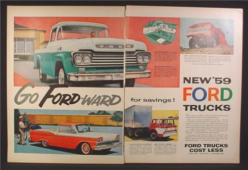 Magazine Ad for 1959 Ford Trucks, Ranchero, Tilt Cab Tandem, 4X4, 1958, Double Page Ad