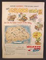Magazine Ad for Gleem Toothpaste, Treasure Hunt Contest, Treasure Map, 1958