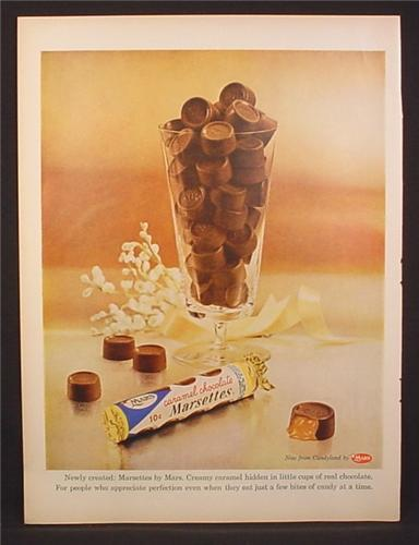 Magazine Ad for Mars Caramel Chocolate Marsettes, Candies ...