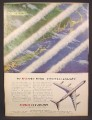 Magazine Ad for Douglas DC-8 Jetliner, Makes History, Contrails, 1958