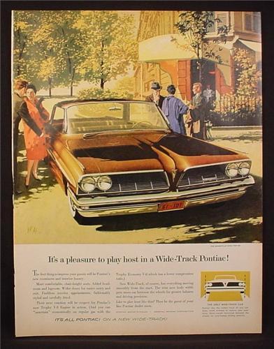 Magazine Ad for 1961 Pontiac Bonneville Vista Car, Front View, 1960