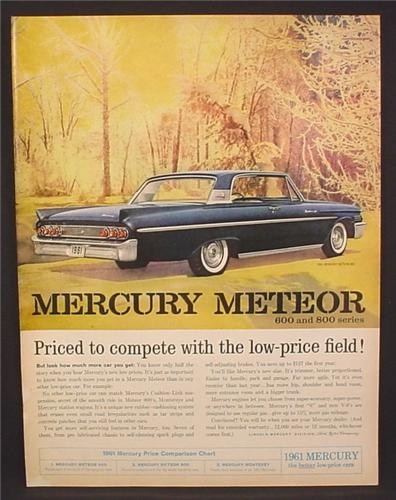 Magazine Ad for 1961 Mercury Meteor 800 Cars, Rear & Side View, 1960