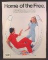 Magazine Ad for Dickies Coveralls, Fashion, Man & Woman, Sitting In Horseshoe, 1982