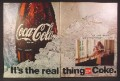 Magazine Ad for Coca-Cola Coke, It's The Real Thing, Girl Playing Guitar, 1970, Double Page Ad