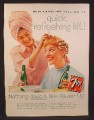 Magazine Ad for 7Up Seven-Up, Girl Getting Her Hair Set in Rollers, 1958