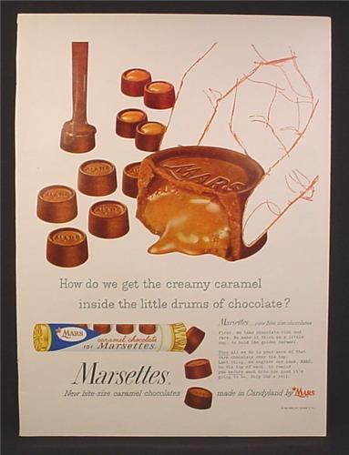 Magazine Ad for Mars Caramel Chocolate Marsettes ...