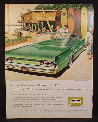 Magazine Ad for 1961 Pontiac Bonnevile Sports Coupe Car, Green, Rear & Side View, 1960