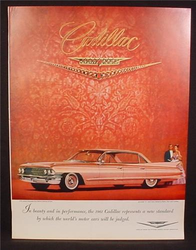 Magazine Ad for 1961 Pink Cadillac Car, Side View, 1960