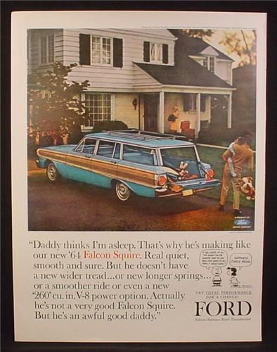 Magazine Ad for 1964 Ford Falcon Squire Station Wagon, Blue With Wood Grain, 1964