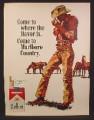 Magazine Ad for Marlboro Cigarettes, Cowboy & Horses Illustration, 1967