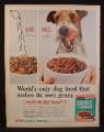 Magazine Ad for Gaines Gracy Train Dog Food, Schnauzer Dog, White Bowl, 1960