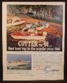 Magazine Ad for Brunswick Cutter Boats, Ensign Tornado Ski-Fair Scamp, 1961