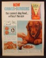 Magazine Ad for Gaines Burgers Dog Food, Irish Setter, 1963