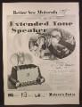 Magazine Ad For Motorola Extended Tone Speaker Radio, Woman Singing, 1953