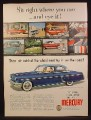 Magazine Ad For Mercury Car, Dark Blue, Side View, 1953