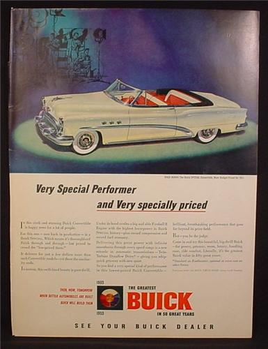 Magazine Ad For Buick Special Convertible Car, Front & Side View, 1953