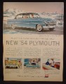 Magazine Ad For Plymouth Belvidere 4 Door Sedan Car, Blue, Front & Side View, 1953