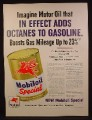 Magazine Ad For Mobiloil Special Motor Oil, Large Can, Adds Octanes, 1954