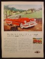Magazine Ad For Chevrolet Bel Air Sport Coupe Car, Red, Front & Side View, 1954