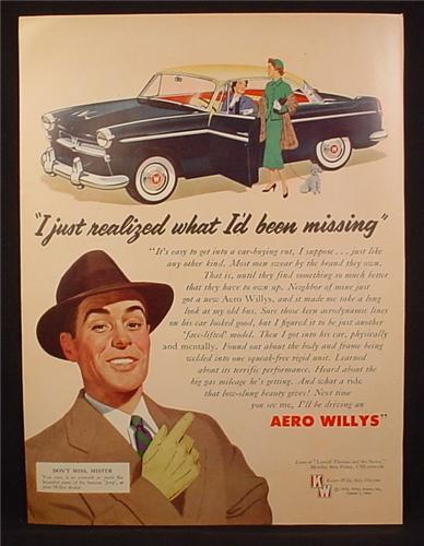 Magazine Ad For Aero Willys Car, Black with Yellow Roof, Realized What I'd Been Missing, 1954