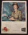 Magazine Ad For Gruen Ladies Watch, You're Near Me Always, Woman In Military Uniform, 1945
