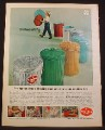 Magazine Ad For Wheeling Steel Garbage or Trash Cans In A Variety of Colors, 1964