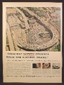 Magazine Ad For Rayon Tires, Aerial View Of the Lincoln Tunnel In New York, New Jersey, 1955