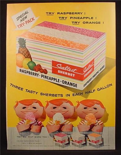 Magazine Ad For Sealtest Raspberry Pineapple Orange Sherbet, Ice Cream ...