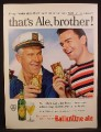 Magazine Ad For Ballantine Ale, Beer, Cans & Bottles, Ship Captain, 1956
