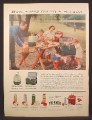 Magazine Ad For Thermos Outing Jugs and Ice Chests, Make Every Outing A Banquet, 1956