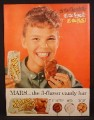 Magazine Ad For Mars Toasted Almond Chocolate Bar, 3 Flavor Candy Bar, 1956