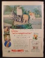 Magazine Ad For Puss 'N Boots Cat Food, Cat & 3 Kittens by Pond, 1957