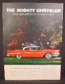 Magazine Ad For Chrysler New Yorker 4 Door Hardtop Car, Red with White Roof, Side View, 1957