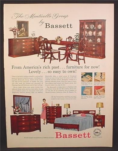 Magazine ad for bassett furniture bedroom dining room for P s furniture flyer