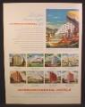 Magazine Ad For Intercontinental Hotels, Chile, Cuba, Brazil, Uruguay, Venezuela, Mexico, 1957