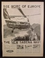 Magazine Ad For Sabena Belgian World Airlines, S-58 Sikorsky Helicopter & Castle, 00-SHG, 1959