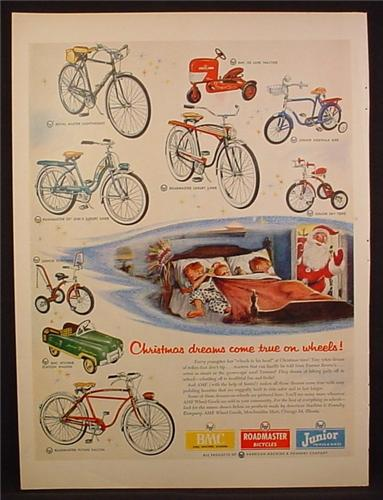 Magazine Ad For AMF Bicycles & Pedal Cars, BMC Jetliner Station Wagon, BMC Tractor, 1954
