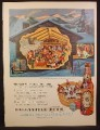 Magazine Ad For Ballantine Beer, Cut Away View of Ski Lodge illustration, Frederick Siebel, 1954