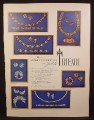Magazine Ad For Trifari Jewelry, Caprice, Golden Gate, Princess, Royal Plume, Rendezvous, 1955