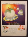 Magazine Ad For Foremost Flaming Ice Cream Snowballs, Flying Sorcery, Dessert, 1955