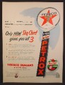 Magazine Ad For Texaco Sky Chief Gasoline, Globe & Tall Petrox Sign, 1955