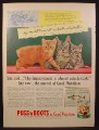 Magazine Ad For Puss 'N Boots Cat Food, Manx Cat & 2 Kittens, 1955