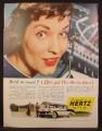 Magazine Ad For Hertz Rent A Car, Telephone Operator, Back So Soon, 1956