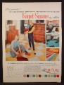 Magazine Ad For Karpet-Squares by Allen, Self Sticking Squares of Carpet, 1956