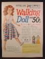 Magazine Ad For Joy Dish Soap Walking Doll Offer, Harlequin Dress, 1956