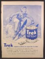 Magazine Ad For Trek Rich test Anti-Freeze, Large Can, Female Skier, 1956